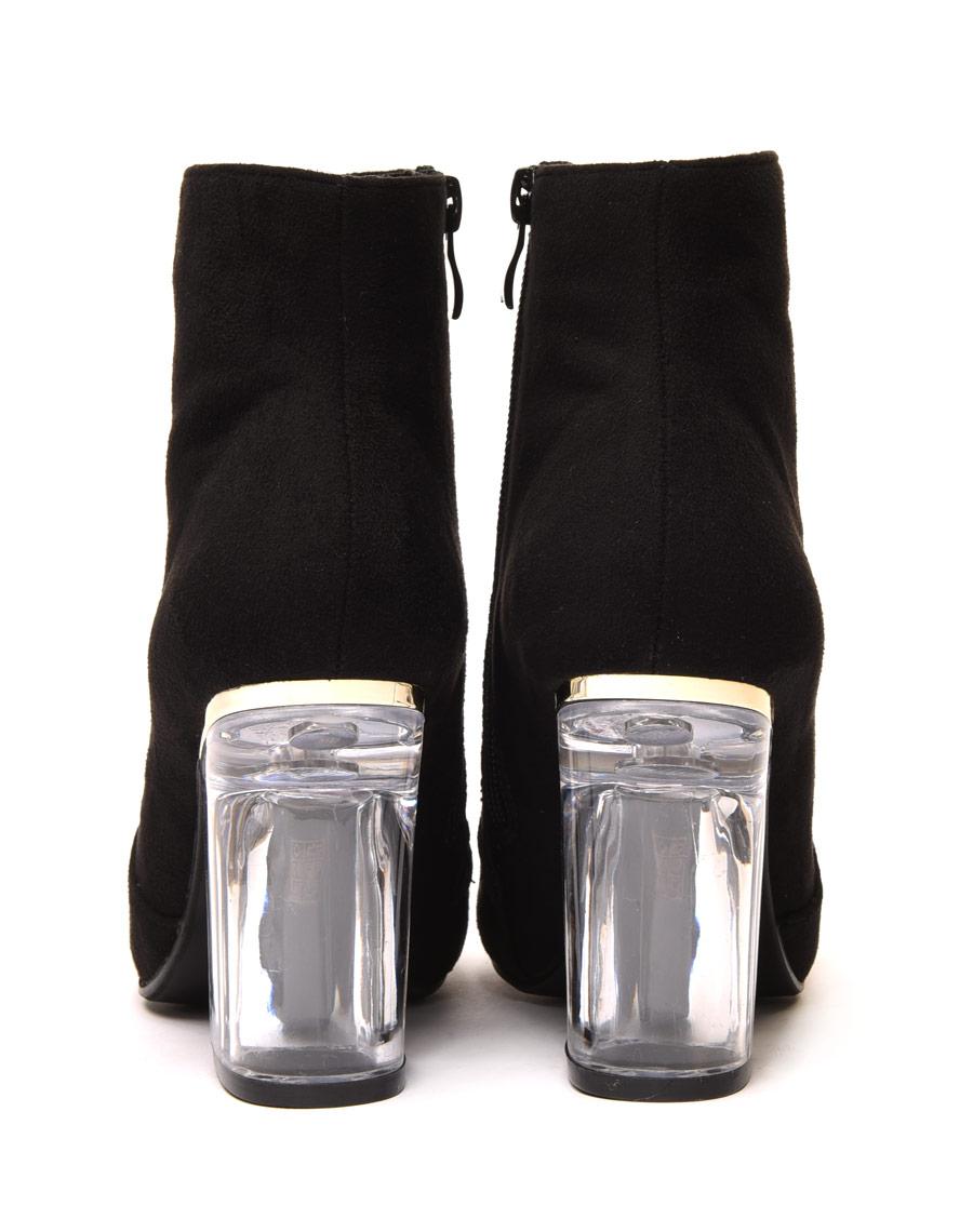 bottines noires en sudine talon transparent. Black Bedroom Furniture Sets. Home Design Ideas