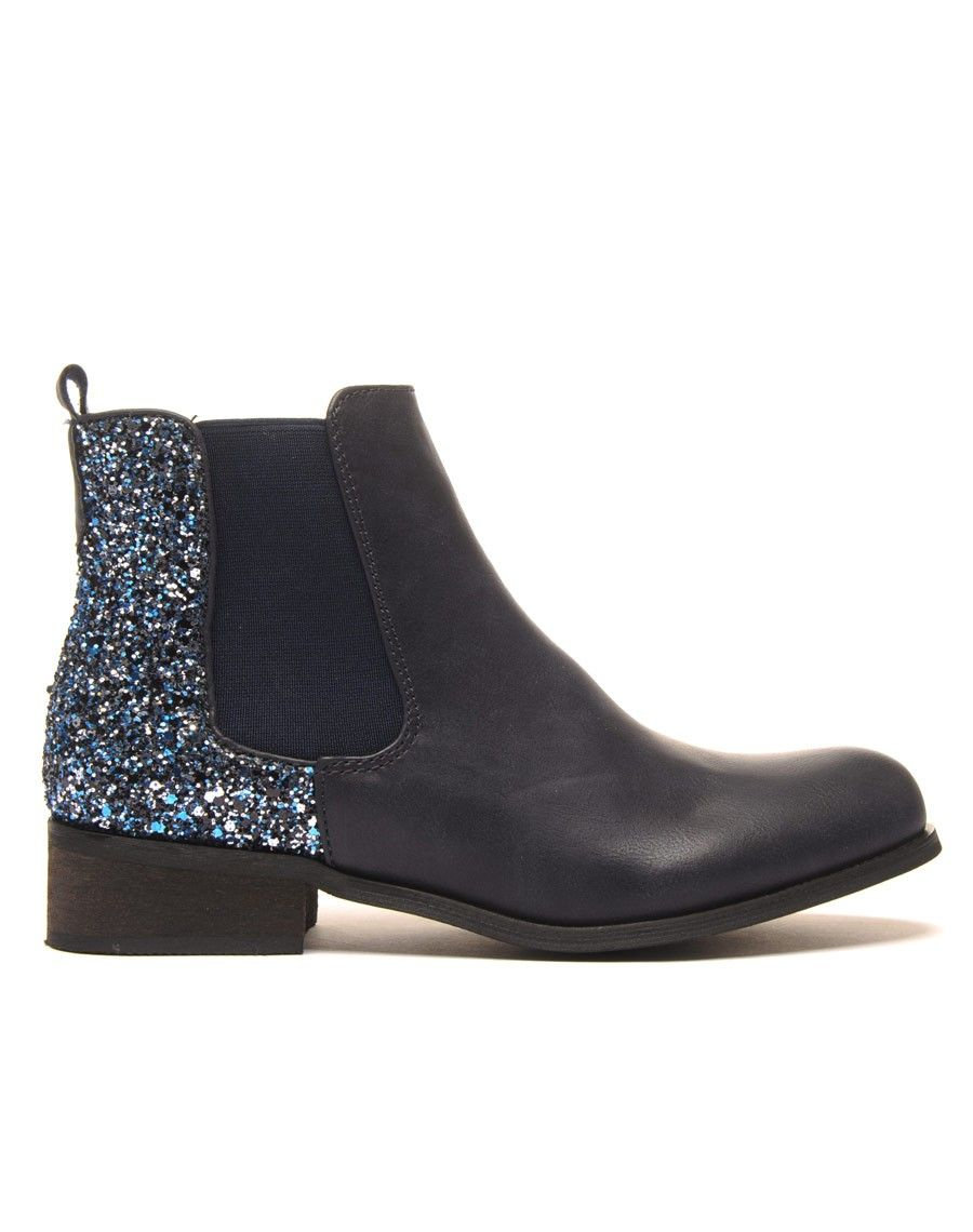 chelsea boots bleue pailltes pas cher. Black Bedroom Furniture Sets. Home Design Ideas