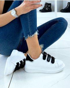 Baskets blanches à détail noir métallisé