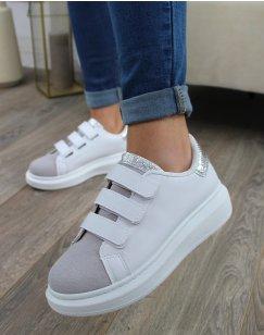 Baskets blanches et grises à scratch et empiècement argenté