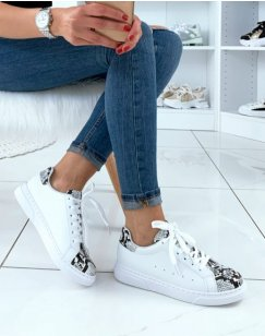Baskets blanches snakeskin
