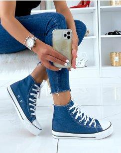Baskets montantes en tissu effet jean à lacets
