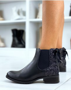 Black ankle boots with sequins and laces