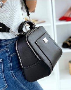 Black Double Pocket Satchel Style Handbag