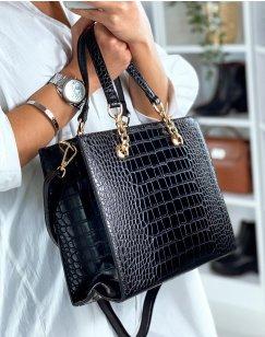 Black handbag with gold croc-effect detail