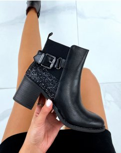 Black heeled ankle boots with glitter detail