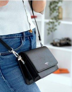 Black shoulder bag with silver detail