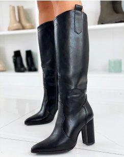 Bottes noires à talon style santiags