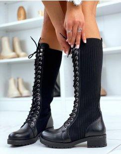 Bottes noires effet chaussette