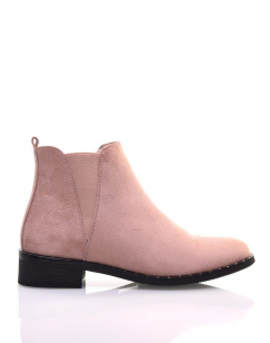 Bottines en suédine rose pale