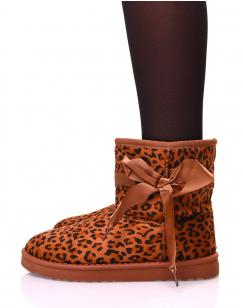 Bottines fourrées léopard