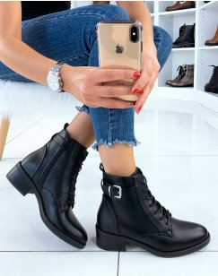 Bottines noires effet derbies