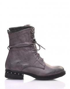 Chaussures montantes à lacets grises