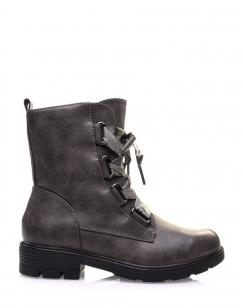 Chaussures montantes grises lacets en satin