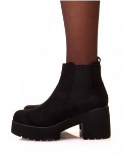 Chelsea boot noires en suédine à plateforme