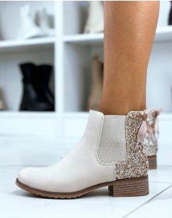 Chelsea boots beiges à paillettes avec nœud