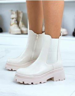 Chelsea boots beiges montantes à talon et semelle crantée