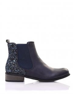 Chelsea boots bleues à paillettes