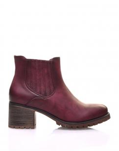 Chelsea boots bordeaux à élastiques rayés