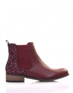Chelsea boots bordeaux à paillettes