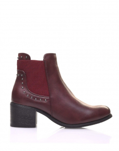 Chelsea boots bordeaux cloutés à petits talons