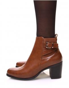 Chelsea boots camelles à fines sangles