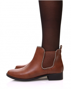 Chelsea boots camelles à perles