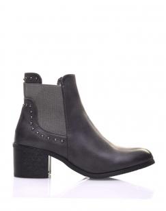 Chelsea boots grises cloutés à petits talons