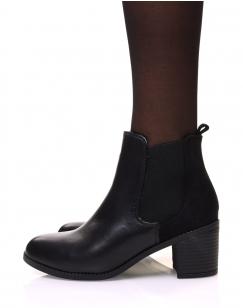 Chelsea boots noires bi matières à talon mi haut