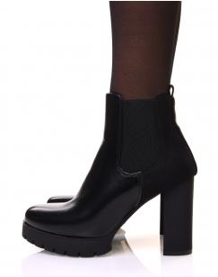 Chelsea boots noires bi matières à talons et plateforme crantée