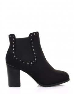 Chelsea boots noirs ornés de clous et à talons