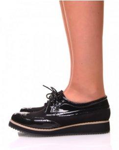 Derbies à lacets bi-matières noires