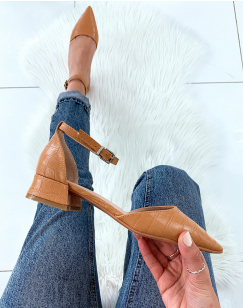 Escarpins à petit talon camel effet croco