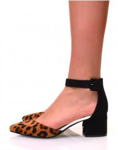 Escarpins effet léopard à petits talons carrés