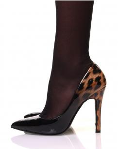 Escarpins noirs dégradés léopard marron vernis