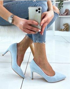 Escarpins pointus en suédine bleue