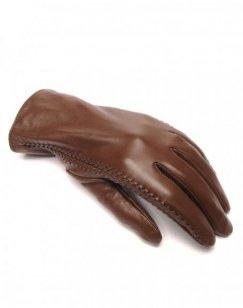 Gants en cuir chocolat LuluCastagnette brodé