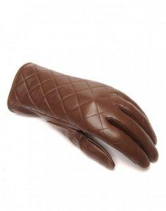 Gants en cuir chocolat LuluCastagnette matelassé
