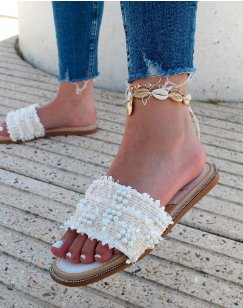 Mules blanches effet tweed à perles