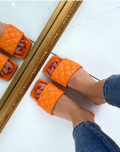 Mules plates orange matelassées