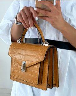 Mustard croc-effect handbag