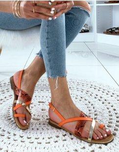 Nu-pieds à multiples lanières entrecroisées oranges dorés et effet python