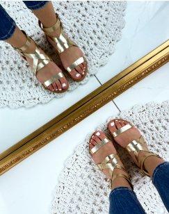 Nu-pieds à multiples sangles en simili cuir doré