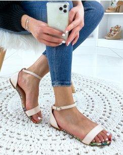 Nu-pieds beige en simili cuir