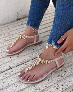 Nu-pieds beiges à bijoux
