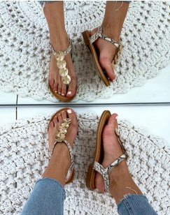 Nu-pieds beiges effet peau de serpent à bijoux dorée