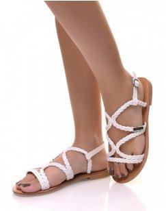 Nu-pieds blancs tressés