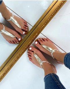 Nu-pieds dorés à détail tressé