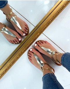 Nu-pieds dorés à double brides