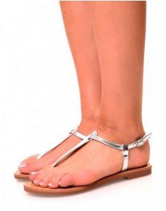 Nu-pieds effet tong argentés